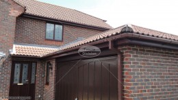 UPVC brown square guttering rosewood fascias and soffits