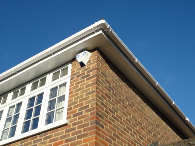 White plain soffit, white fascia with square guttering